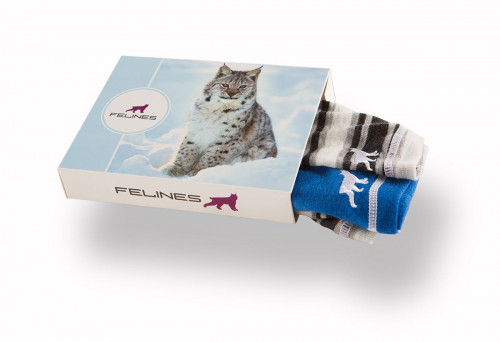 Felines Headover 100% Merino 2pk Dame Solid Blue/Stripes Grey