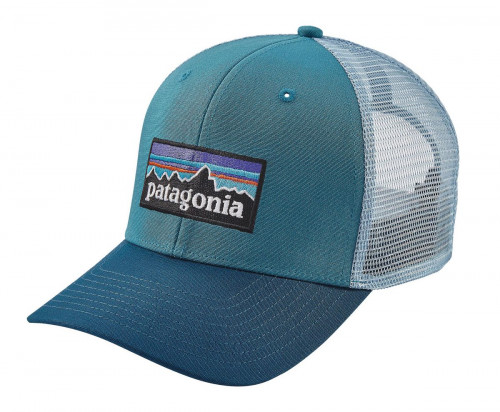 Patagonia P-6 Logo Trucker Hat White W/Fire/Andes Blue
