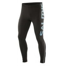 Salming Running Tights Men, Large Print Black/Cyan