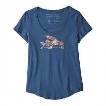 Patagonia W Flying Fish Organic Scoop T-Shirt Stone Blue W/Solar Paradise