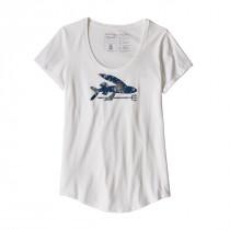 Patagonia W Flying Fish Organic Scoop T-Shirt White W/Solar Paradise