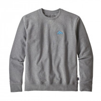 Patagonia M Small Flying Fish U-Crew Swtshrt Gravel Heather