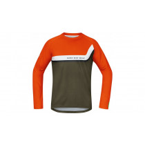 Gore Bike Wear Power Trail Jersey Long Blaze Orange/Ivy Green