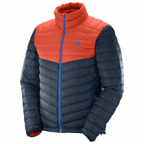 Salomon Halo Down Jacket Men Big Blue-X/Lava Orange