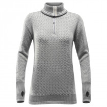 Devold Slogen Woman Zip Neck Grey Melange/Offwhite