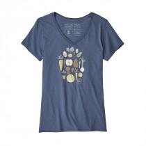 Patagonia Women's Harvest Haul Organic V-Neck T-Shirt Dolomite Blue