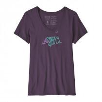 Patagonia Women's Live Simply Sleeping Out Organic V-Neck T-Shirt Piton Purple