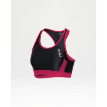 2XU Performance Tri Crop- W Black/Cherry Pink