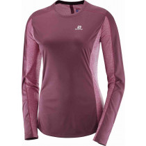 Salomon Agile LS Tee W Fig/Beet Red