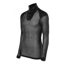 Brynje Wool Thermo Zip Polo 3/4 Neck W/Inlay Black