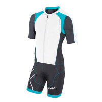 2XU Comp Full Zip S/S Trisuit-M White/Capri Blue