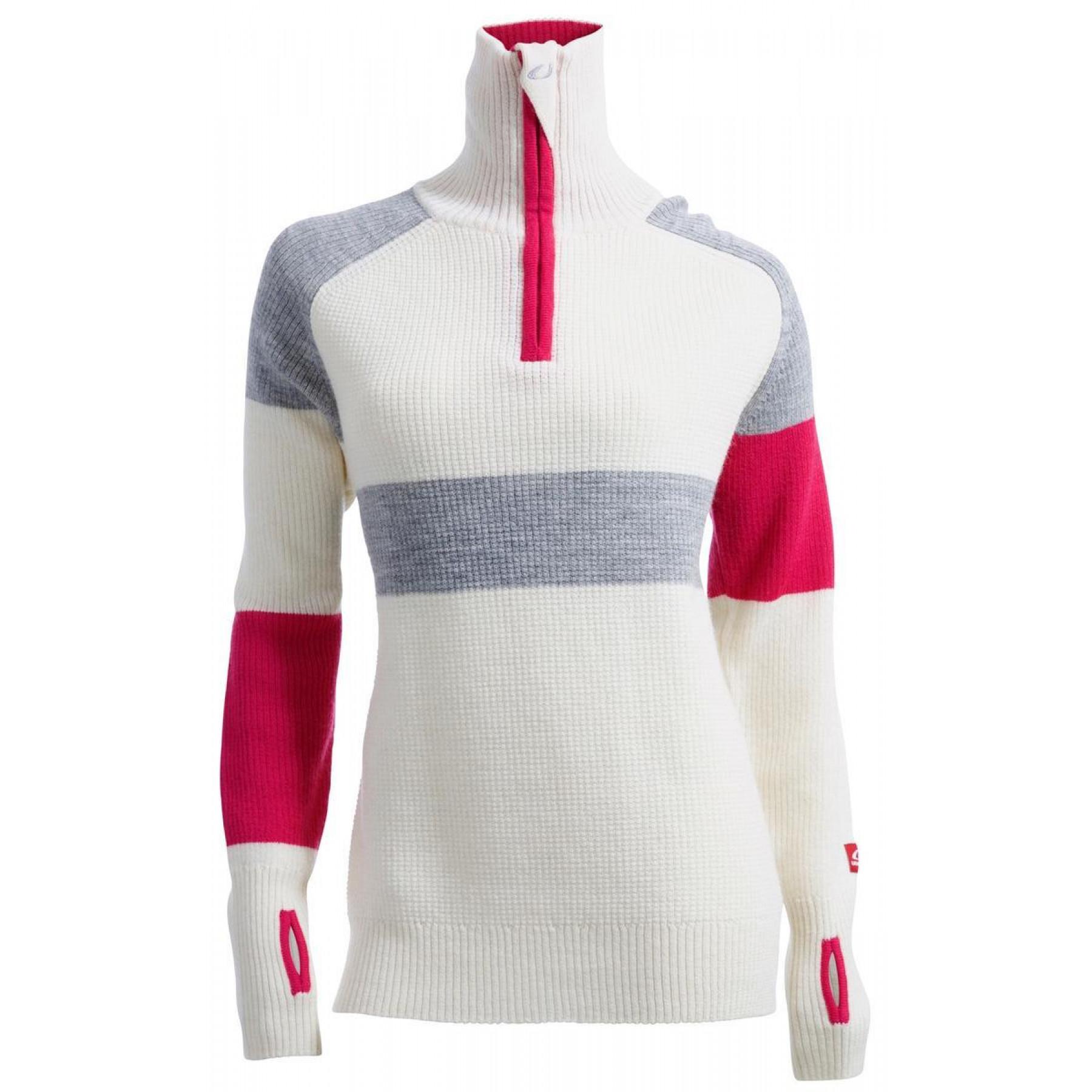 62fec52d Ulvang Rav Limited Sweater W/Zip Women's Vanilla/Grey Melange/Beetroot