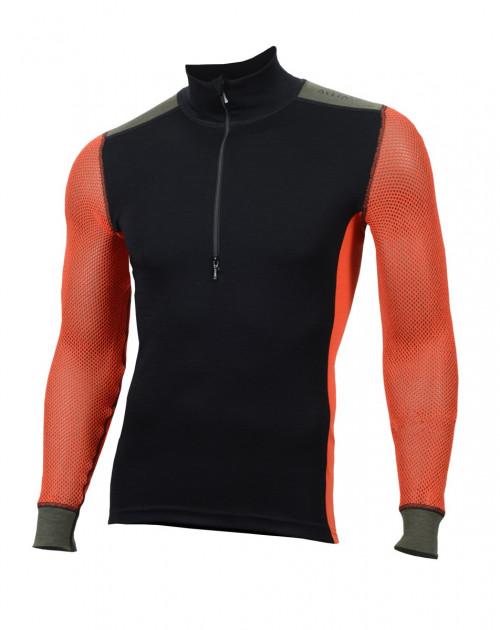 Aclima WoolNet Hiking Mock Neck Shirt Men's Jet Black/Poinciana/Olive Night