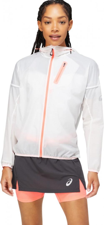Asics Fujitrail Jacket W's Brilliant White/Blazing Coral