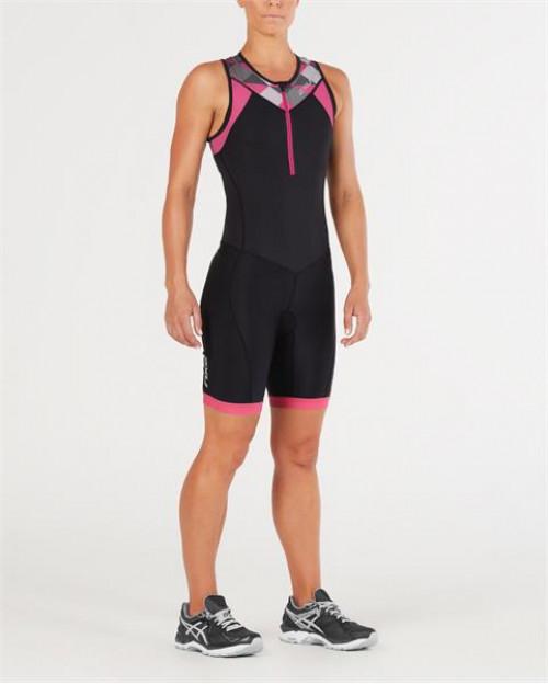 2XU Active Trisuit W Black/Retro Tri Pink Peacock