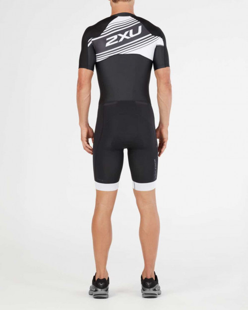 2XU Comp Full-zip sleeved Trisuit-M Black/White Logo