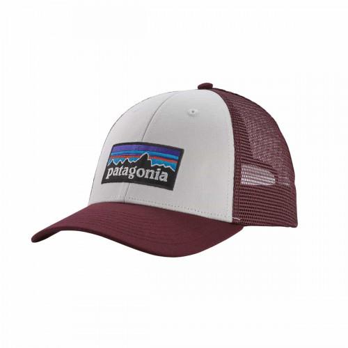 Patagonia P-6 Logo Lopro Trucker Hat White W/Dark Ruby