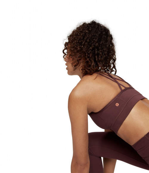 Manduka Cross Strap Bra Dark Chestnut
