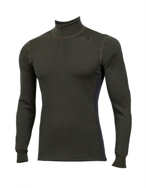 Aclima Warmwool Mock Neck Shirt, M Olive Night/Marengo