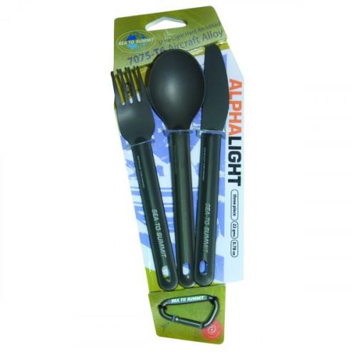 Sea To Summit Cutlery Alphalight Set Spoon/Knife/Fork Grey Anodised 3 PC