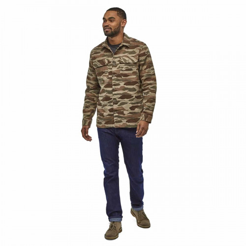 Patagonia M L/S Fjord Flannel Shirt Bear Witness Camo: Sage Khaki