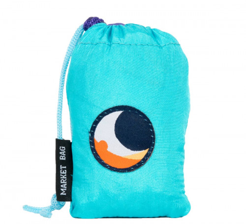 Ticket To The Moon Eco Market Bag Turquoise/Purpl 46 x 42 cm