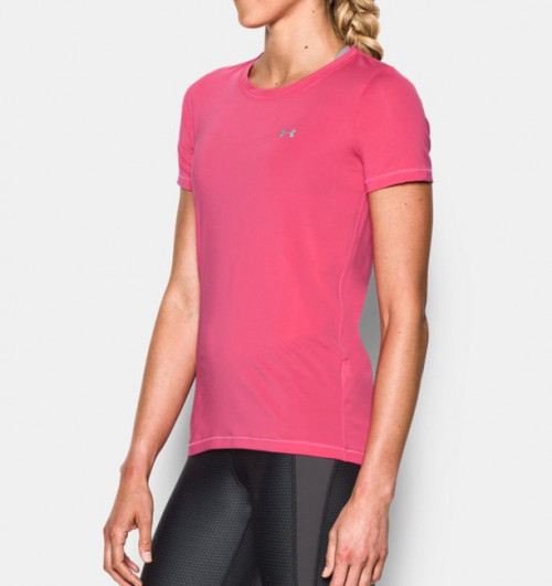 Under Armour Women's HeatGear Armour Short Sleeve Pink Sky/Metallic Silver