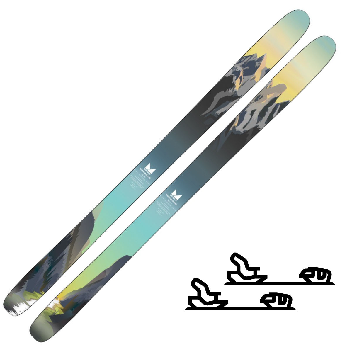 SGN Skis Hurrungane Green Artwork Randoneeskipakke med binding