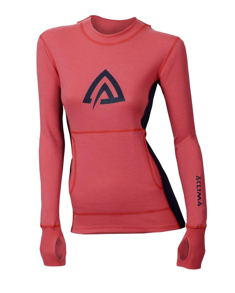 Aclima WarmWool Hood Sweater Woman Calypso CoralPeacoat