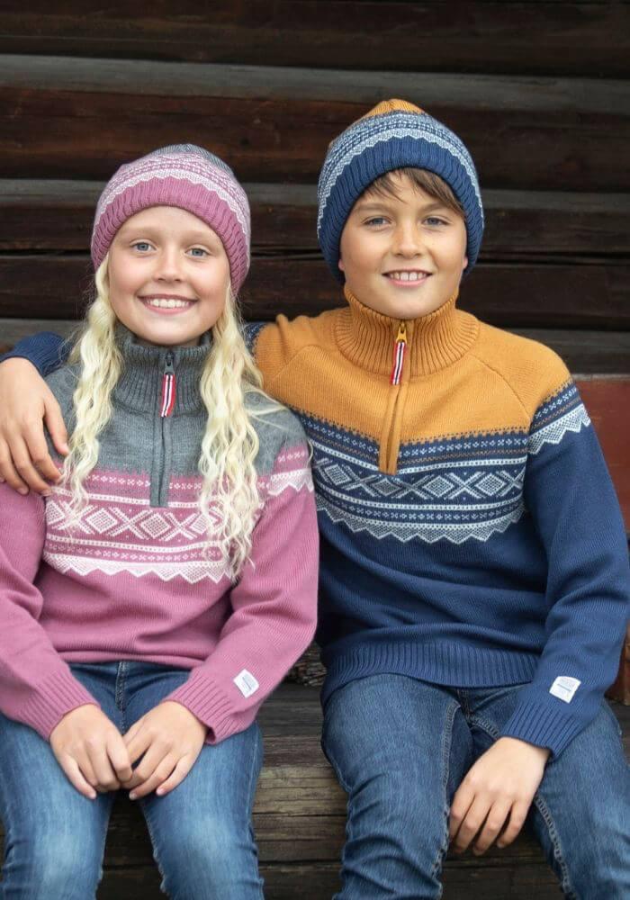 Marius Kids Rundstrikket Genser Ull Mesa Rose | Fjellsport.no