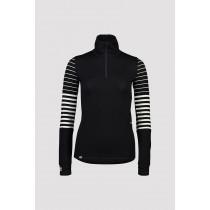 Mons Royale W Cornice Half Zip Black/Thick Stripe/Thin Stripe