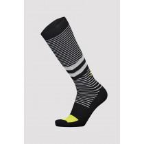 Mons Royale Lift Access Sock Black/White Stripe/Citrus