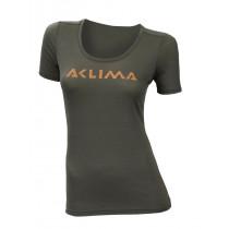 Aclima Lightwool T-Shirt Logo Women Ranger Green