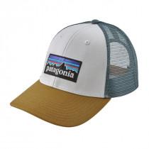 Patagonia P-6 Logo Lopro Trucker Hat White W/Kastanos Brown
