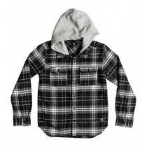 DC Boy's  8-16 Runnels Flannel Hooded Long Sleeve Shirt Black