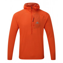Mountain Equipment Solar Eclipse Hooded Zip Tee Cardinal Orange configurable