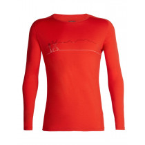 Icebreaker Mens 200 Oasis Deluxe Raglan LS Crewe Single Line Ski Chili Red