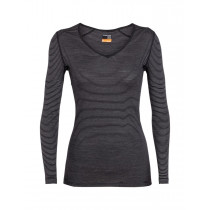 Icebreaker Womens 200 Oasis LS V Black/Snow/Stripe