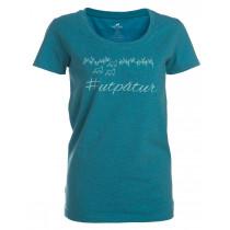Felines Women's T-Shirt Med Print Turquoise Melange