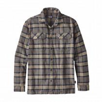 Patagonia M L/S Fjord Flannel Shirt Migration Plaid: Forge Grey