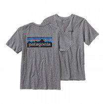 Patagonia Men's P-6 Logo Cotton T-Shirt Gravel Heather