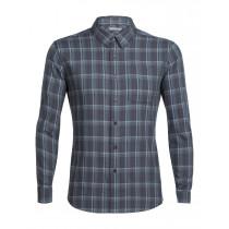 Icebreaker Mens Compass Flannel LS Shirt Monsoon/Vapour/Plaid