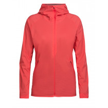 Icebreaker Women's Coriolis Hooded Windbreaker Poppy Red