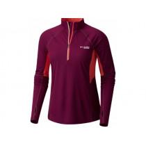 Columbia Montrail Women's Titan Ultra Half Zip Shirt Dark Raspberry, Red Coral