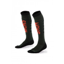 Mons Royale Men's Mons Snow Tech Sock Forest Green/Black/Flame