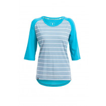 Mons Royale Phoenix 3/4 Raglan Tee Box Small - BT Lead Stripe/Aqua