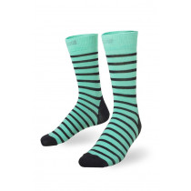 Mons Royale Mid Calf Sock Stripes Peppermint/Black Stripes