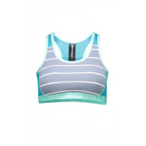 Mons Royale Women's Sierra Sports Bra Aqua/BT Lead Stripe