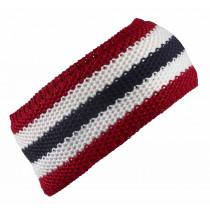 SkiGo Croched Striped Headband Rød