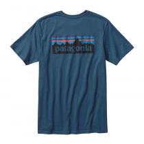 Patagonia M P-6 Logo Cotton T-Shirt Glass Blue
